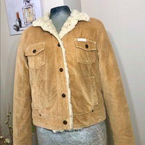 Aeropostale Vtg light brown jacket W/ fur